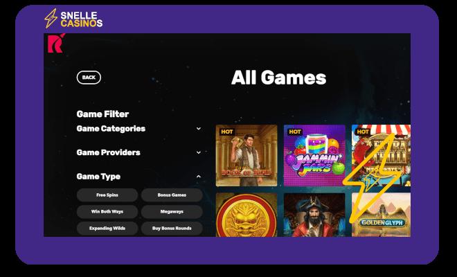 Rocket Casino Game Filter