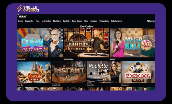 Premier Live Casino lobby