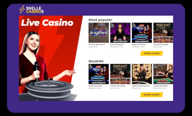 Quick.bet snelle Live Casino
